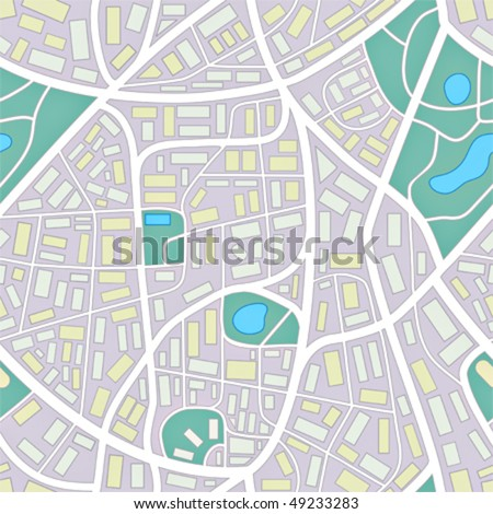 seamless pattern of a invented city without names - stock vector