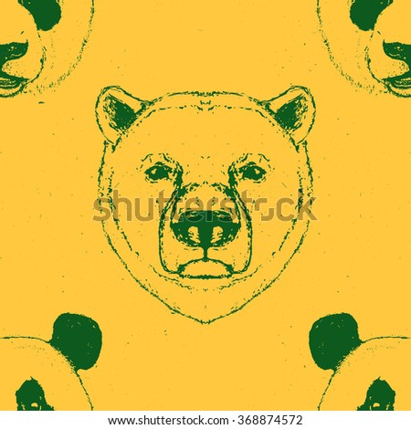 Seamless Pattern of a Panda bear head and a Polar Bear head. Vector illustration.  - stock vector