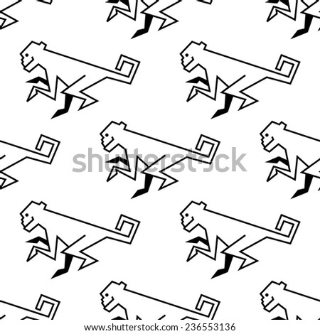 Seamless pattern of a stylized monkey in side view with a black vector outline drawing motif - stock vector