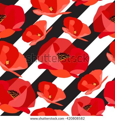 Seamless pattern of abstract poppy on black strips. Vector illustration - stock vector
