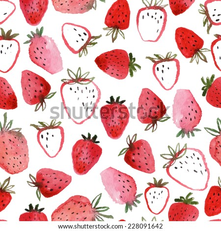 Seamless pattern of abstract watercolor hand drawn beautiful strawberries on white background - vector illustration - stock vector