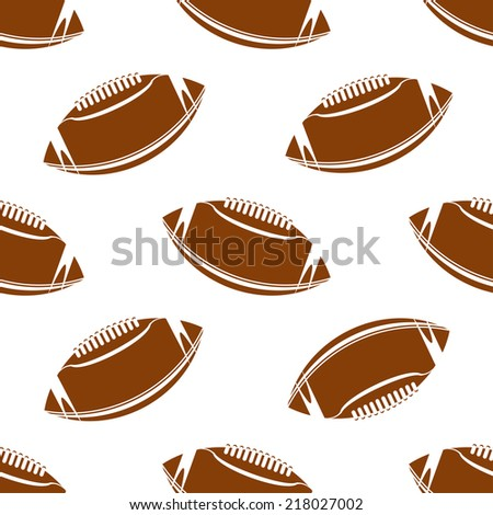Seamless pattern of american football or rugby balls for sporting design - stock vector