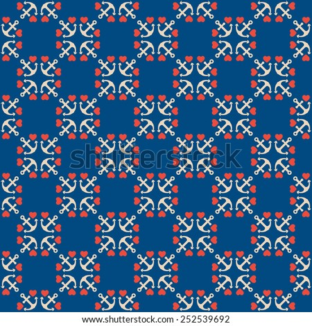 Seamless pattern of anchor and hearts. Use to create quilting patches or seamless backgrounds for various craft projects. Marine symbol. - stock vector