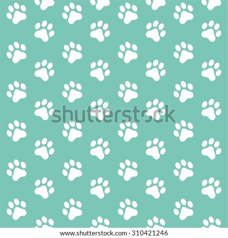 Seamless Pattern Of Animal White Paw Print On Mint Color Background