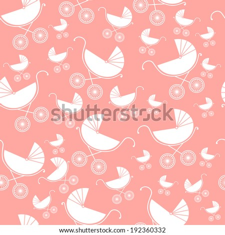 Seamless pattern of baby strollers. Vector illustration. Background - stock vector