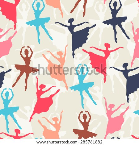 Seamless pattern of ballerinas silhouettes in dance poses. - stock vector