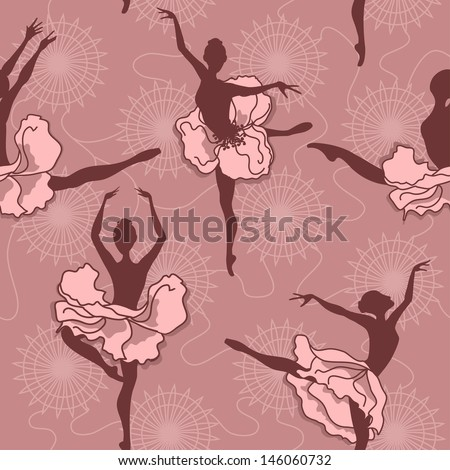 Seamless pattern of ballet dancers with floral tutus - stock vector
