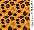 Seamless pattern of black Halloween elements on orange background - stock vector
