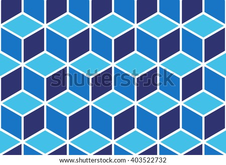 Seamless pattern of blue cubes. Endless cubic background. Optical illusion. - stock vector