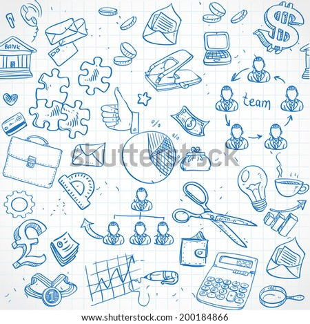 Seamless pattern of blue doodles on business theme 2 - stock vector