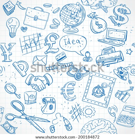 Seamless pattern of blue doodles on business theme 1 - stock vector
