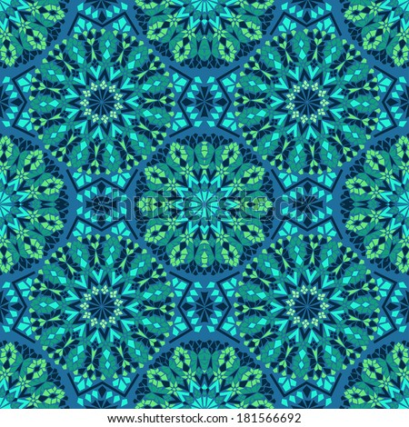 Seamless pattern of blue green Moroccan mosaic  - stock vector