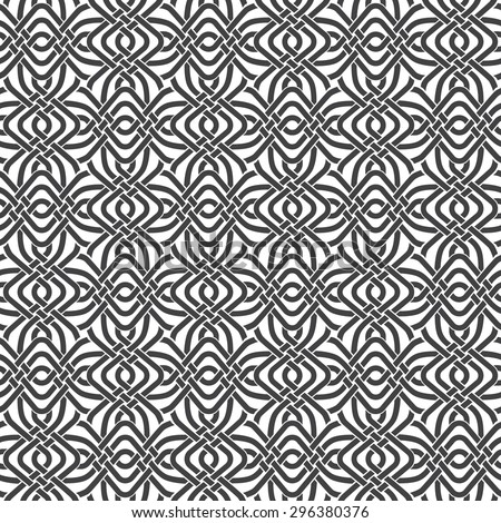 Seamless pattern of braided strips with swatch for filling. Abstract ornament texture. Fashion geometric background for web or printing design. - stock vector