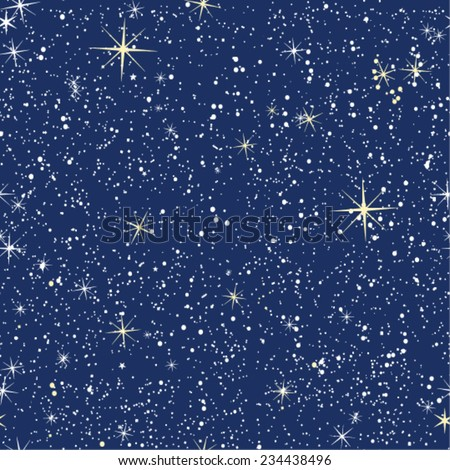 Seamless pattern of bright starry night - stock vector