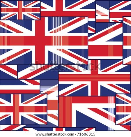 Seamless pattern of british flag. - stock vector