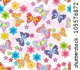 Seamless pattern of butterfly & flower - stock vector