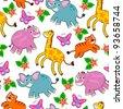 seamless pattern of cartoon animals - stock vector
