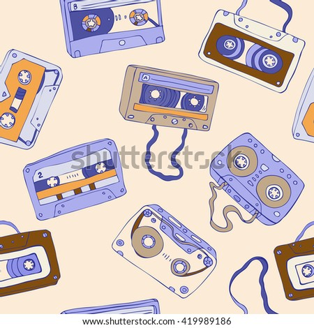 Seamless pattern of cassette tapes. Audio cassette. Vector background. - stock vector