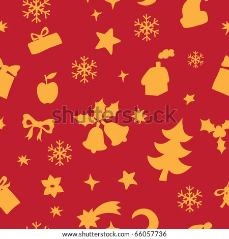Seamless pattern of Christmas and New Year elements - stock vector