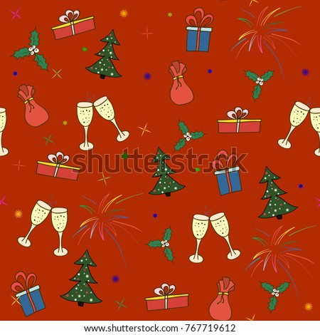 seamless pattern of Christmas and New Year's graphic elements . Glasses, salute, Christmas tree, gifts on a red background