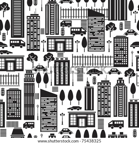 Seamless pattern of city. - stock vector