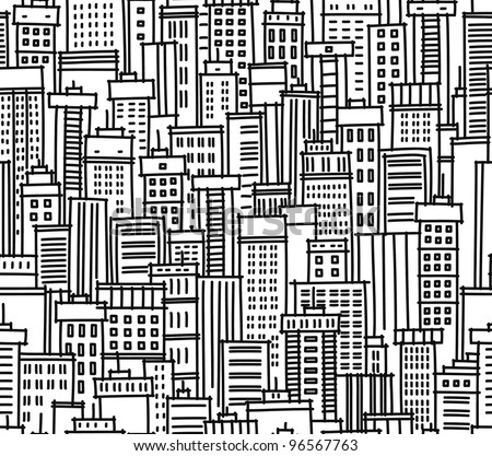 Seamless pattern of city - stock vector