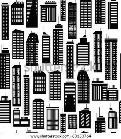 Seamless pattern of  city's buildings. - stock vector