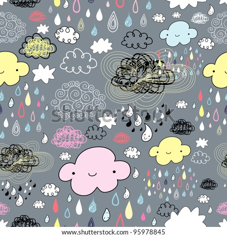 seamless pattern of clouds and rain - stock vector