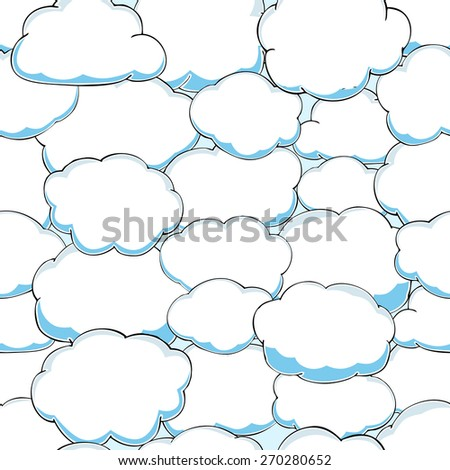 seamless pattern of clouds on blue sky. vector illustration