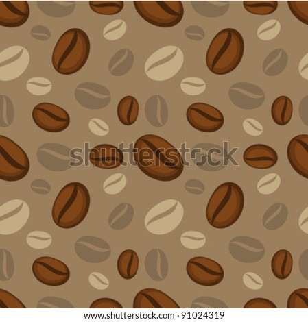 Seamless pattern of coffee beans. Vector illustration - stock vector