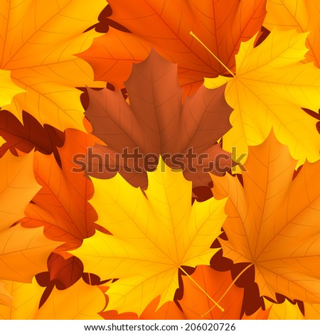 Seamless pattern of color autumn leaves. - stock vector