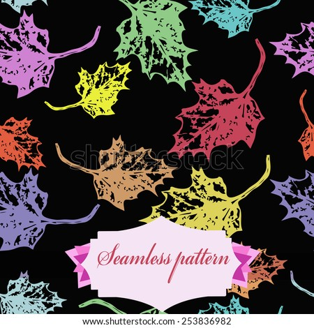 Seamless pattern of colored maple leaves, label  on a black    background. Hand drawn. Autumn theme.
