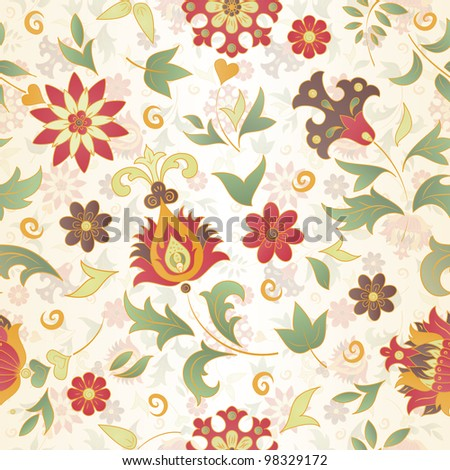 Seamless pattern of colored retro flowers. EPS 10 vector illustration - stock vector