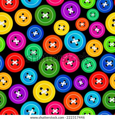 Seamless pattern of colorful buttons on a black background - stock vector