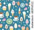 Seamless pattern of colorful candy and ice cream - stock photo