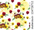 Seamless pattern of colorful flowers of pansies - stock vector