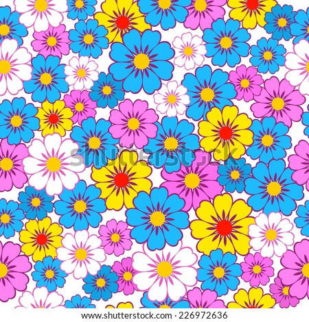 Seamless, pattern  of colorful flowers on a white  background, vector illustration - stock vector
