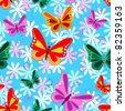 Seamless pattern of colorful flying butterflies with pastel color flowers over sky blue background. - stock photo