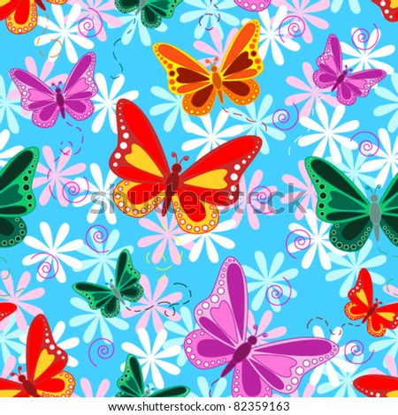 Seamless pattern of colorful flying butterflies with pastel color flowers over sky blue background. - stock vector