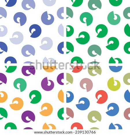 Seamless pattern of colorful geometric shapes on a white background