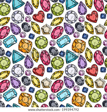 Seamless pattern of colorful jewels. Hand drawn gemstones. Sketch style illustration. - stock vector