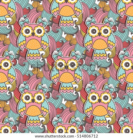 Seamless pattern of colorful owls with swirls