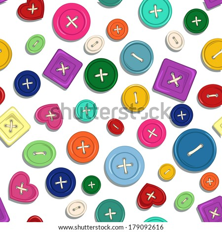 Seamless pattern of colorful sewing buttons  - stock vector
