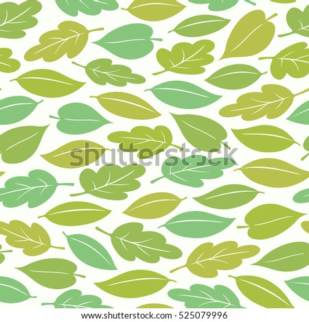 Seamless pattern of colorful spring or summer leaves, vector illustration