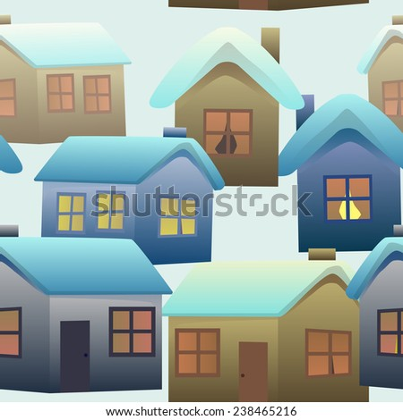 Seamless pattern of colorful village houses, covered with snow - stock vector