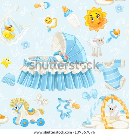 Seamless pattern of cribs, toys and stuff it's a boy on blue background - stock vector