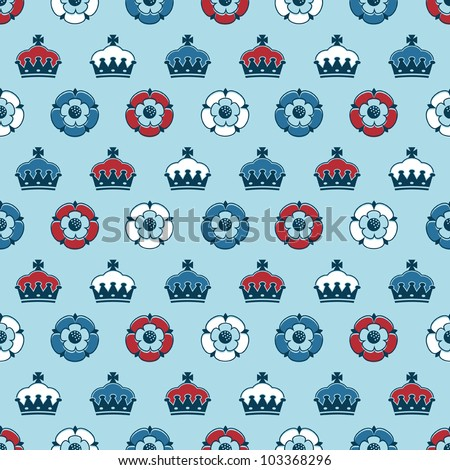 seamless pattern of crowns and tudor roses in red, white and blue, with clipping path - stock vector