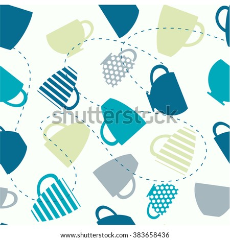 Seamless pattern of cups. Cup background. Tea card. Cup vector. Seamless pattern with colorful cups. Coffee design.
