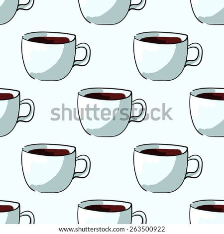 Seamless pattern of cups, tea or coffee, hand-draw style. Vector illustration - stock vector