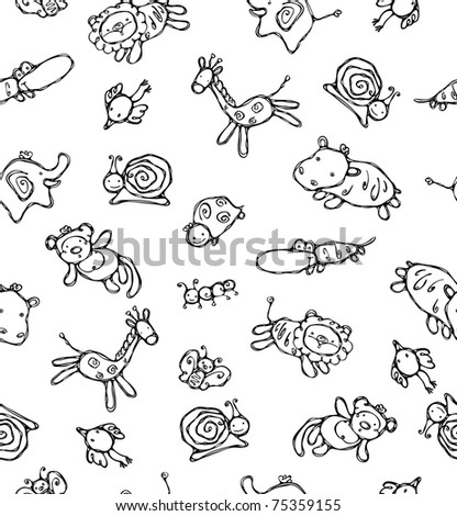 Seamless pattern of cute animals. - stock vector